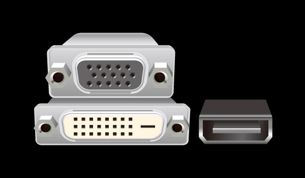 Graphic of the female ends of D-Sub, DVI-D and HDMI connectors