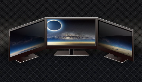 Three Monitors chained together showing a panoramic image of a planet's horizon and an Eclipsed sun in space