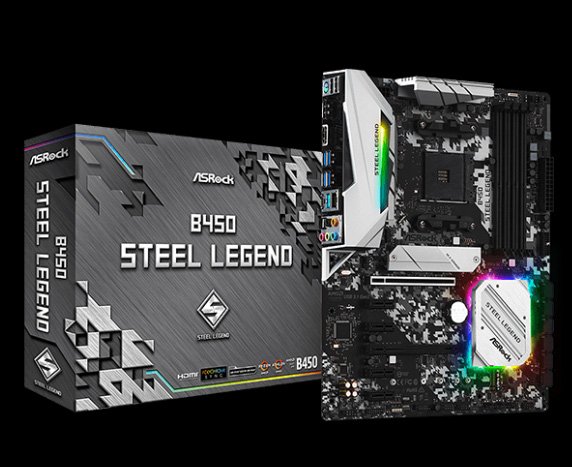 ASRock B450 Motherboard and Its Product Box