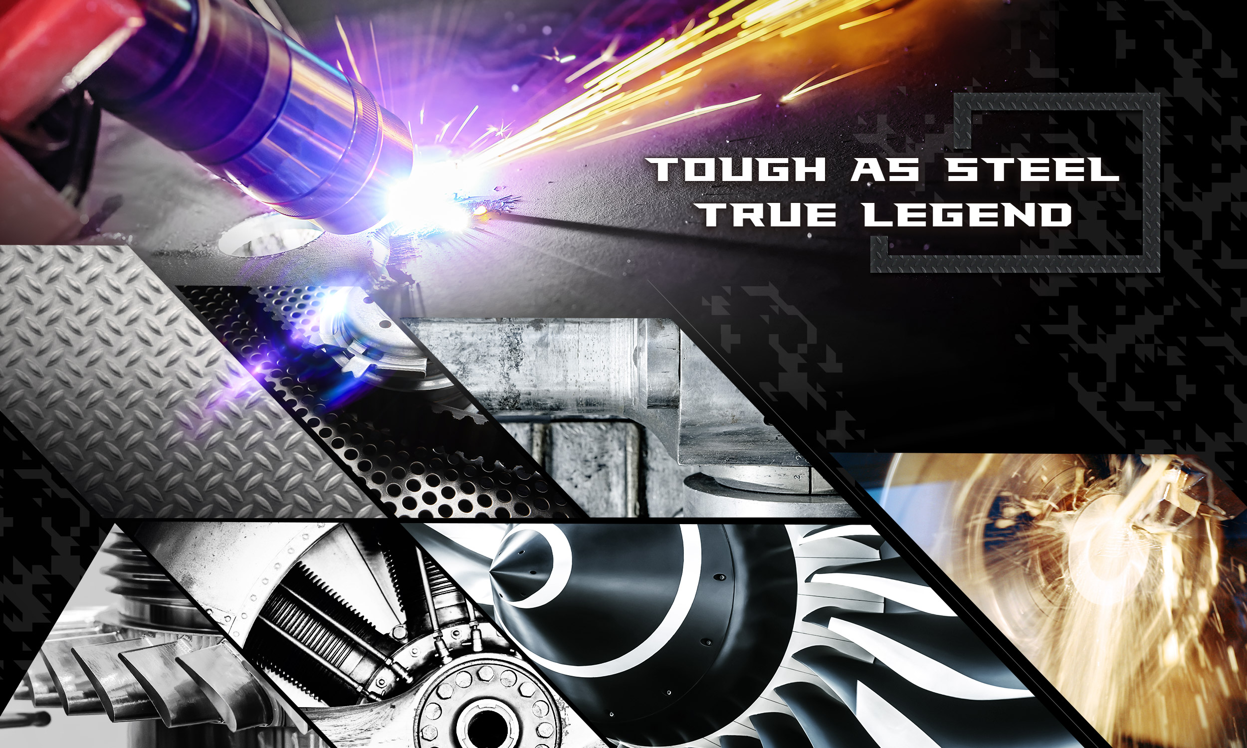 Tough As Steel True Legend Banner with Gears and Metalworking Graphics