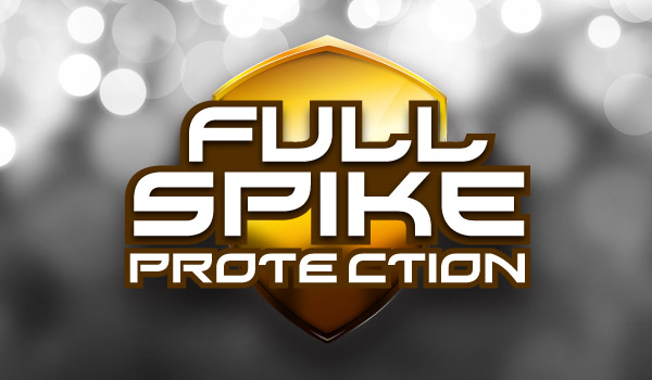 Full Spike Protection Logo, An Orange Shield with the Service Text