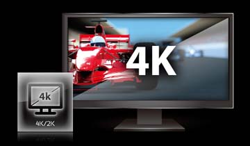 4K Ultra HD monitor next to a 4K/2K TV icon
