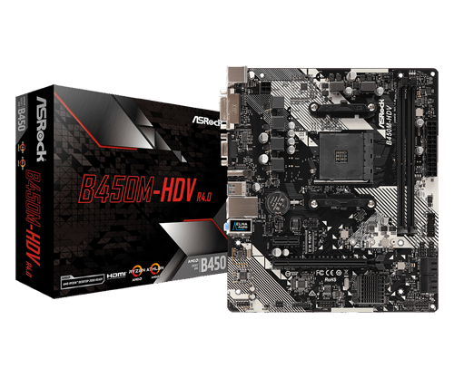 ASRock B450M-HDV R4.0 Motherboard next to its product box