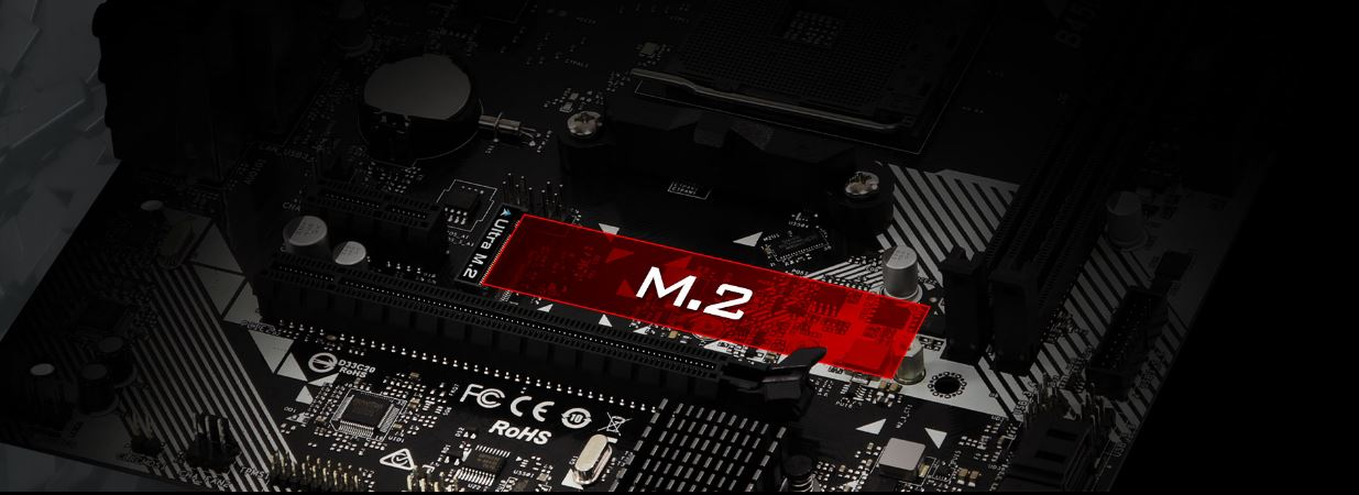 Ultra M.2 32 Gb/s (PCIe Gen3 x4 & SATA 3) area on the motherboard