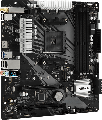ASRock B450M_ac Motherboard Standing Up, Angled to the Right
