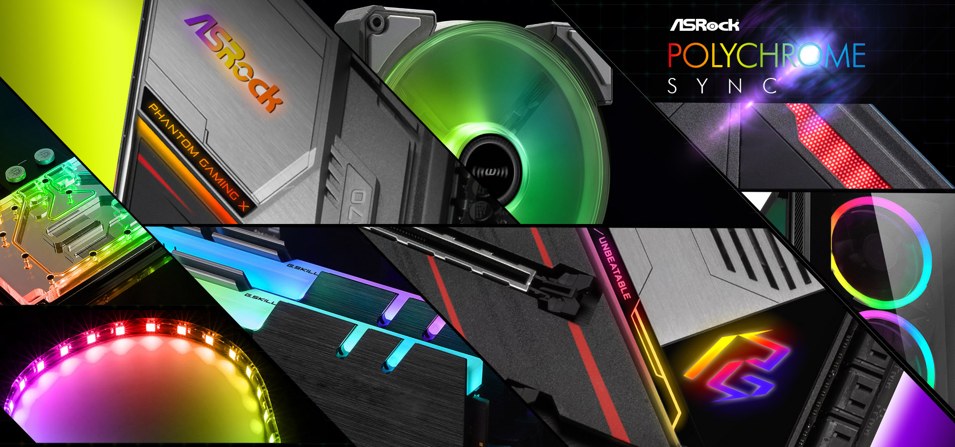 Different Closeup Shots of RGB-Lit Components and the RGB-Lit Areas on the ASRock X570 Phantom Gaming X Motherboard