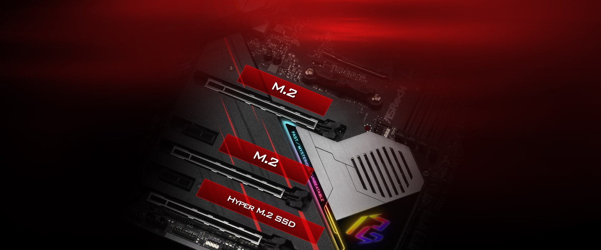 Highlight graphic showing the three M.2 slots on the ASRock X570 Phantom Gaming X Motherboard, with the third bottom one being Hyper M.2