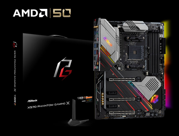 ASRock X570 Phantom Gaming X Standing Up, Angled to the Right Next to Its Product Box and the AMD 50 Years Logo