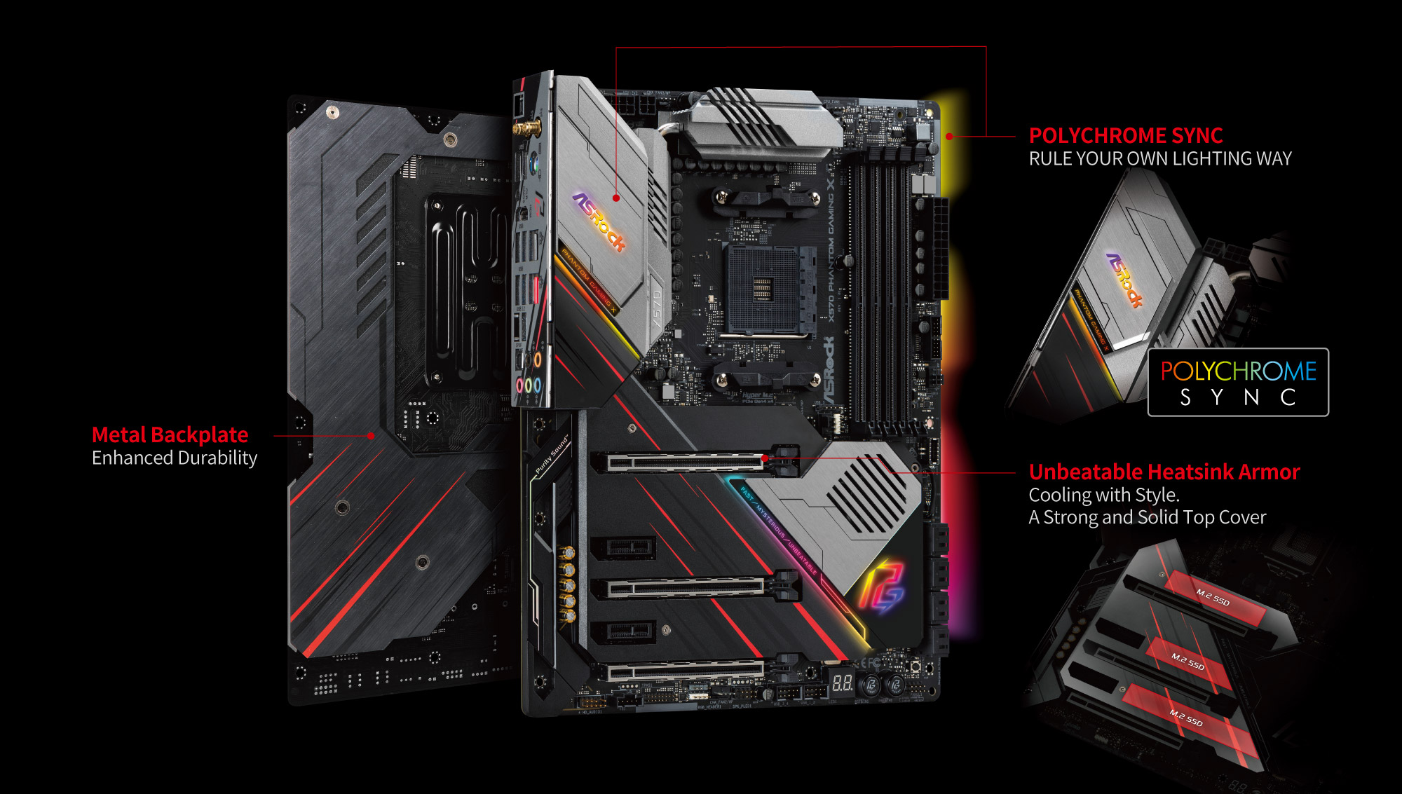Two ASRock X570 Phantom Gaming X Motherboard Back to Back along with text and graphics pointing out the following features: Metal backplate for enhanced durability, Polychrome Sync to rule your own lighting way and unbeatable heatsink armor to cool with style via this strong and solid top cover