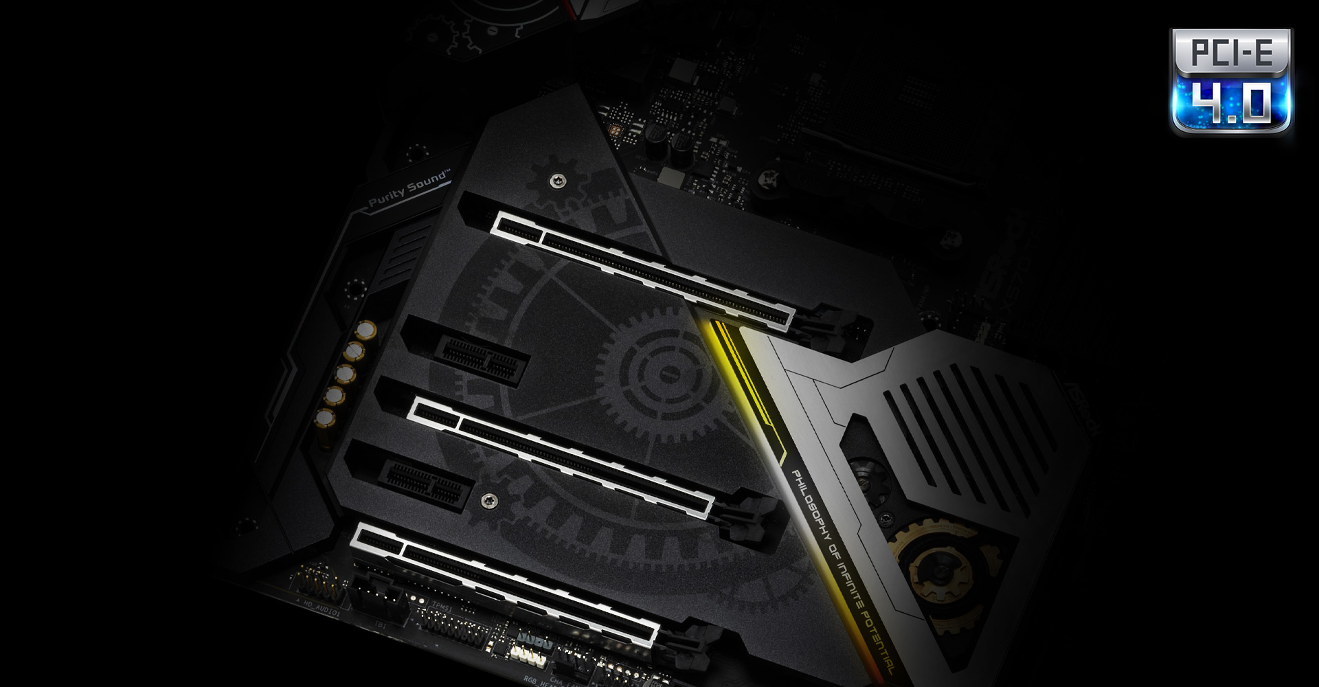 Closeup shots of the three steel slots on the ASRock X570 Taichi Motherboard