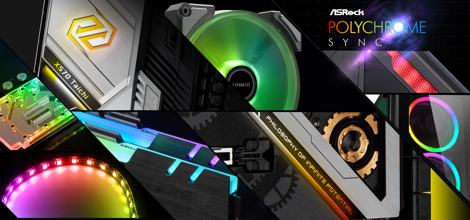 Different Closeup Shots of RGB-Lit Components and the RGB-Lit Areas on the ASRock X570 Taichi Motherboard