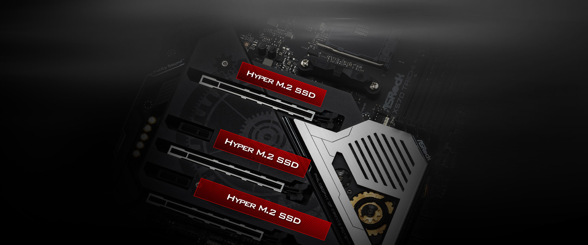 Highlight graphic showing the three M.2 slots on the ASRock X570 Taichi Motherboard, with the third bottom one being Hyper M.2