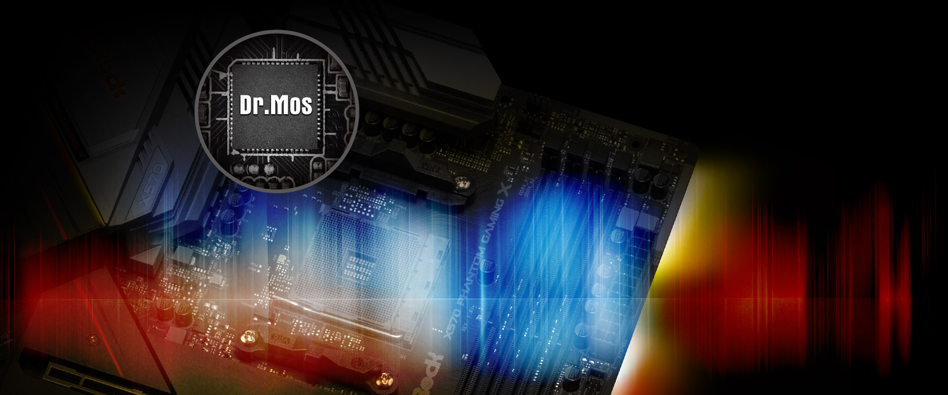 DR MOS Chipset above a color-spectrum filtered ASRock X570 Taichi Motherboard
