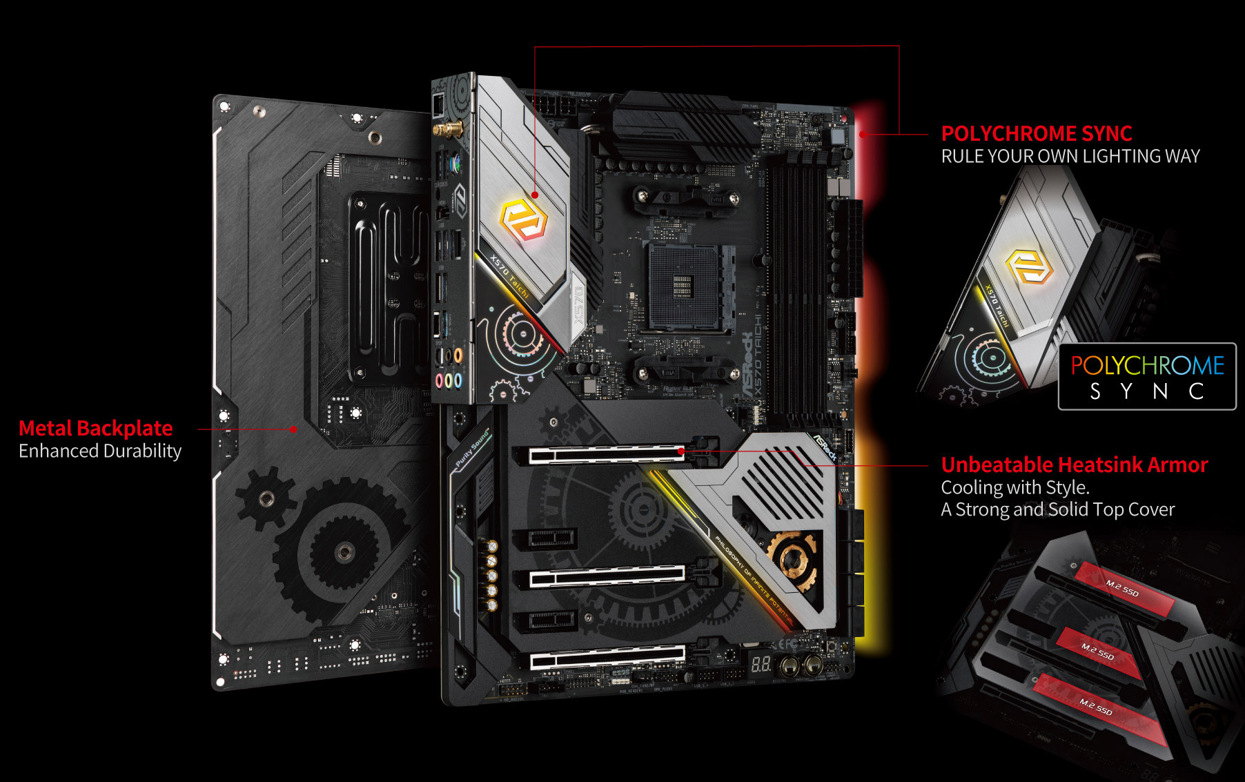 Two ASRock X570 Taichi Motherboard Back to Back along with text and graphics pointing out the following features: Metal backplate for enhanced durability, Polychrome Sync to rule your own lighting way and unbeatable heatsink armor to cool with style via this strong and solid top cover