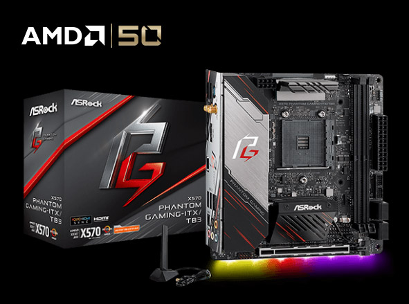 X570 Phantom Gaming-ITX/TB3 Motherboard Next to Its Product Box, WiFi Device and AMD 50 Logo