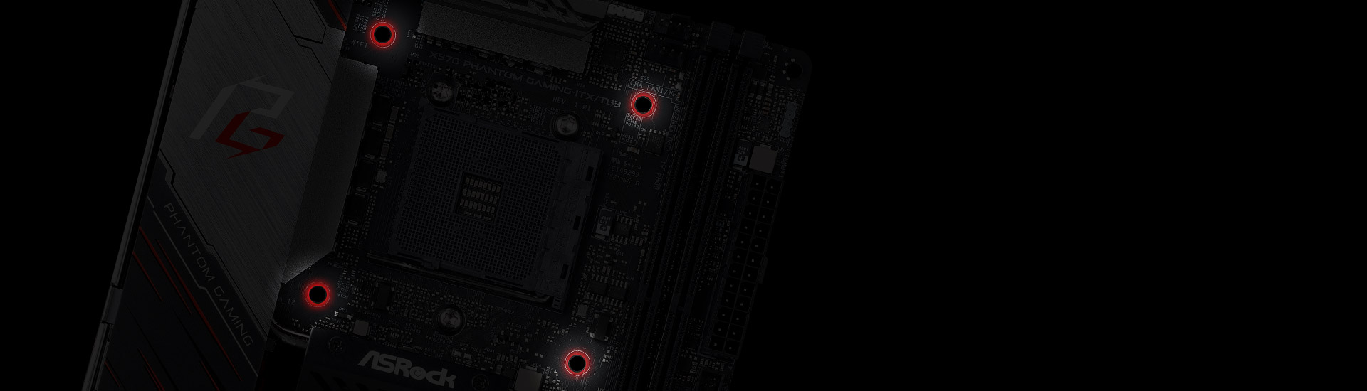 Red Highlights For the Three Mounting Holes on the ASRock X570 Phantom Gaming-ITX/TB3 Motherboard