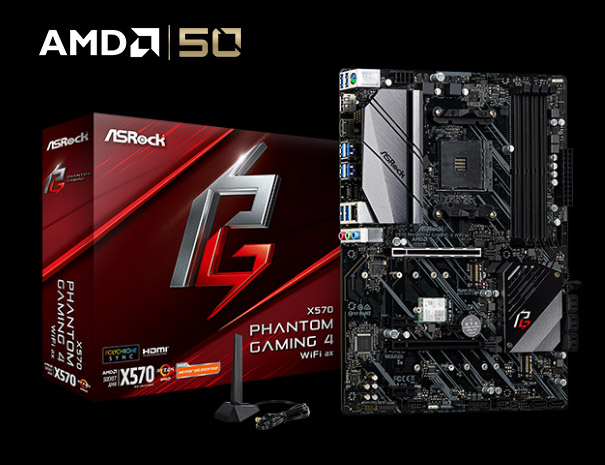 ASRock X570 Phantom Gaming 4 WiFi ax Motherboard Next to Its Product Box and the AMD 50 Logo