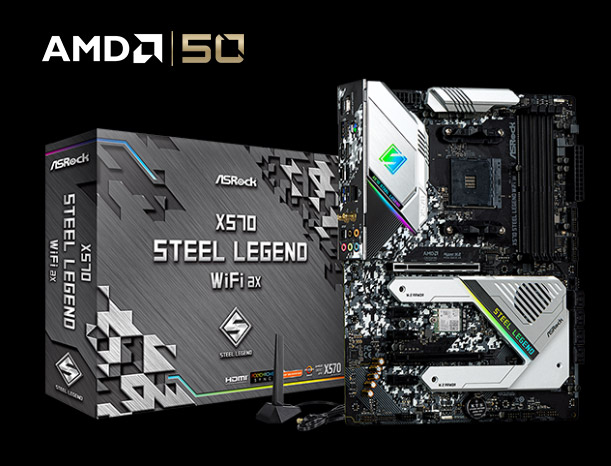 ASRock X570 Steel Legend WiFi ax Motherboard Standing Up, Next to Its Product Box and the AMD 50 Logo