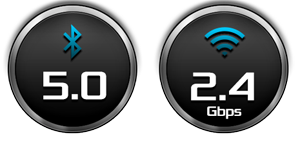 Bluetooth 5.0 and 2.4Gbps WiFi Icon