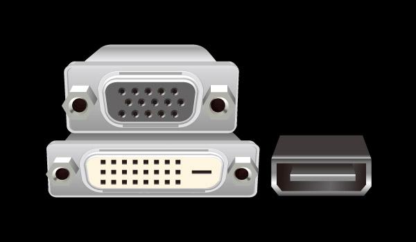 D-Sub, DVI-D, and HDMI ports