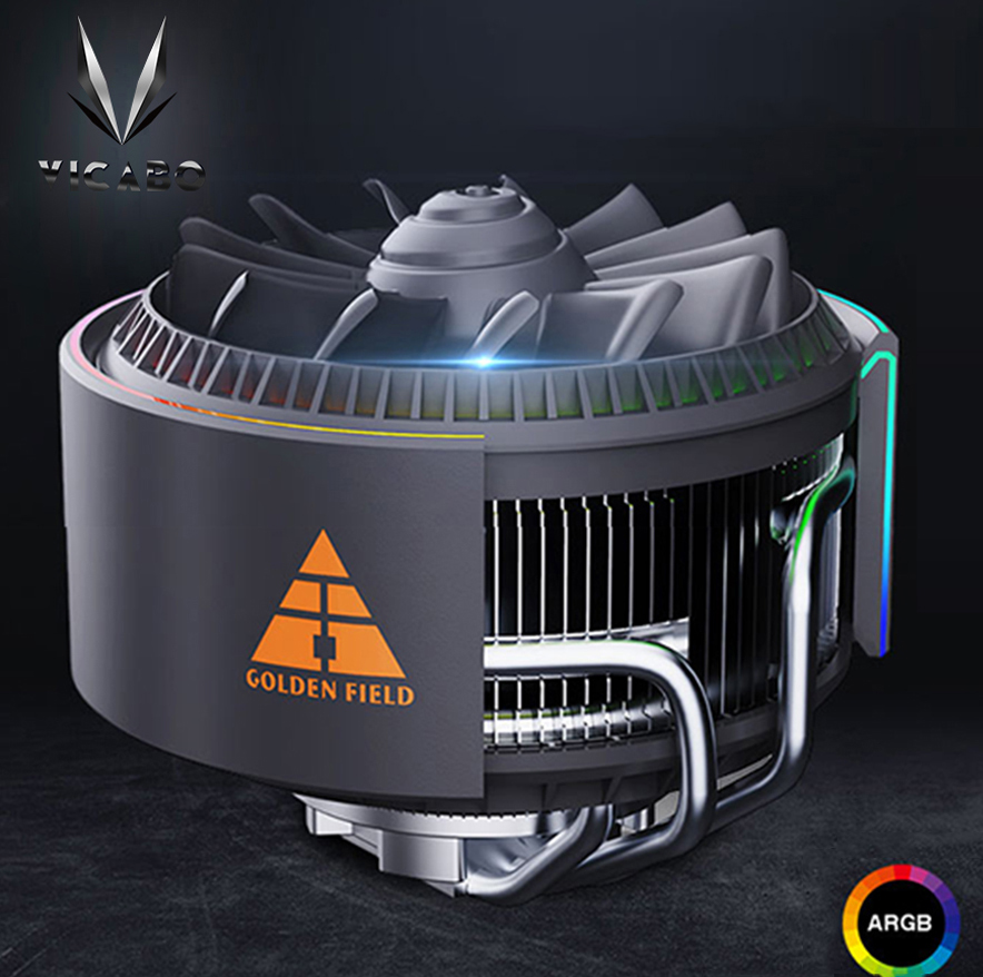 The rear view of VICABO ARGB Lighting CPU Cooler. The VICABO logo on the top left.