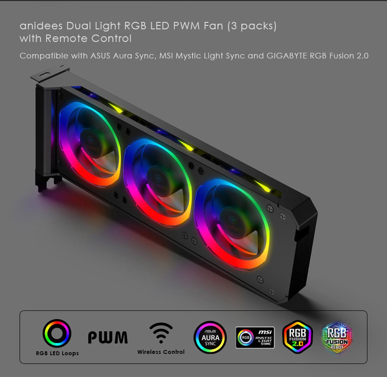 Anidees Graphic Card Cooler 3 x 80mm PWM Fan, Support ASUS Aura SYNC/MSI  Mystic Sync/ASROCK Aura RGB/GIGABYTE RGB Fusion (5V 3-Pin Addressable  Headers