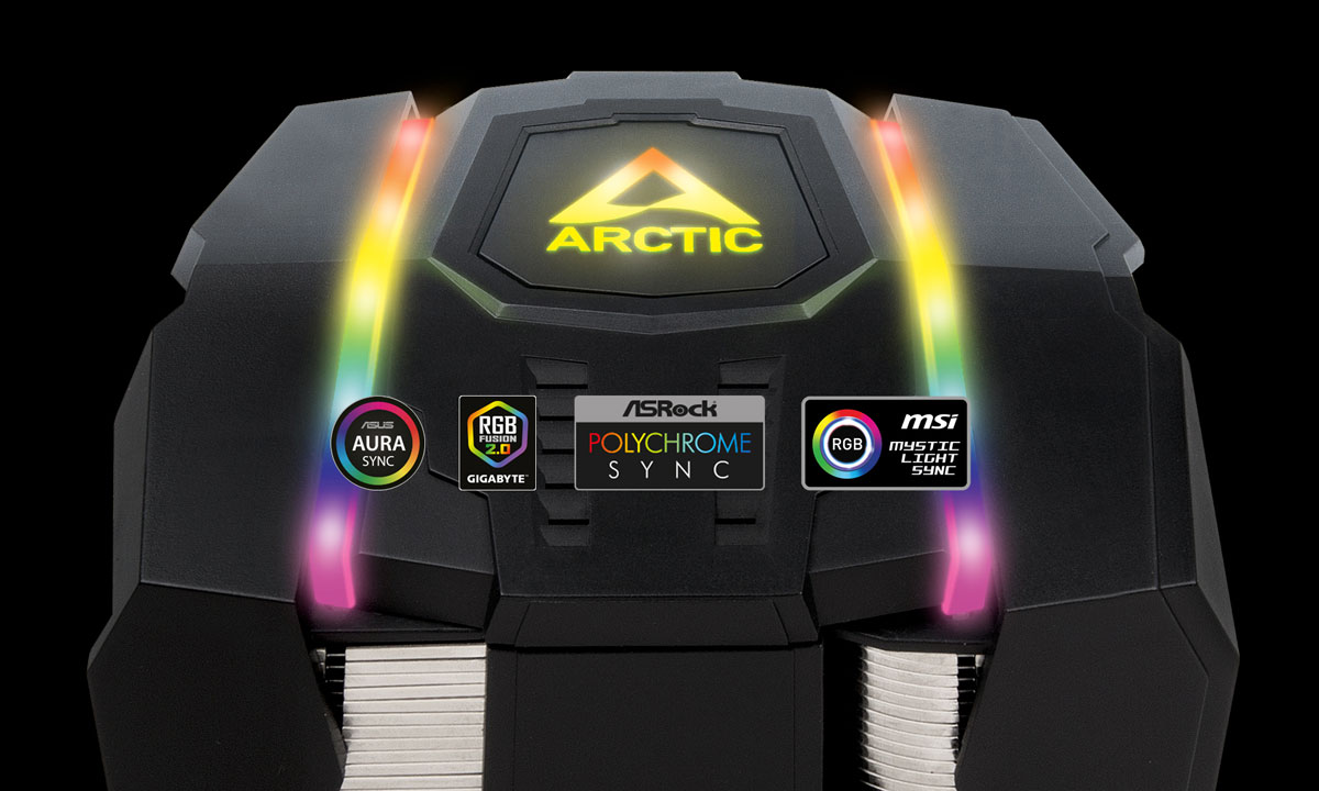 Top of the Arctic Freezer 50 TR with LED lighting on. In front of it are logos of  Asus Aura Sync, RGB Fusion, ASRock Polychrome Sync, and MSI Mystic Light Sync