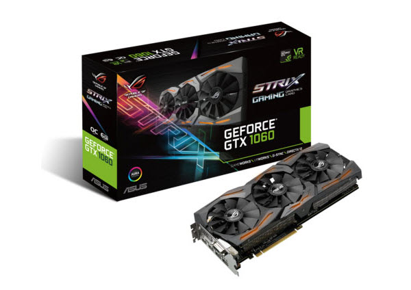 ASUS ROG Strix GeForce GTX 1060 graphics card facing up, titled to the left next to its product box