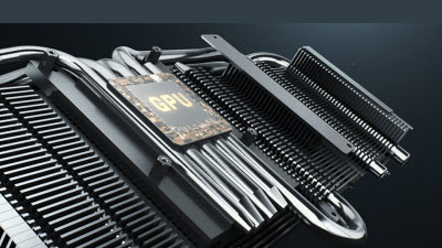 Closeup image of the DirectCU III cooling tech that includes heat sinks and heat pipes surrounding the GPU