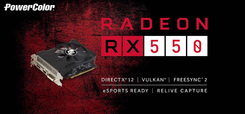 PowerColor Radeon RX 550 DirectX 12 AXRX 550 2GBD5-DHA/OC 2GB 128-Bit GDDR5  PCI Express 3 0 CrossFireX Support ATX Video Card