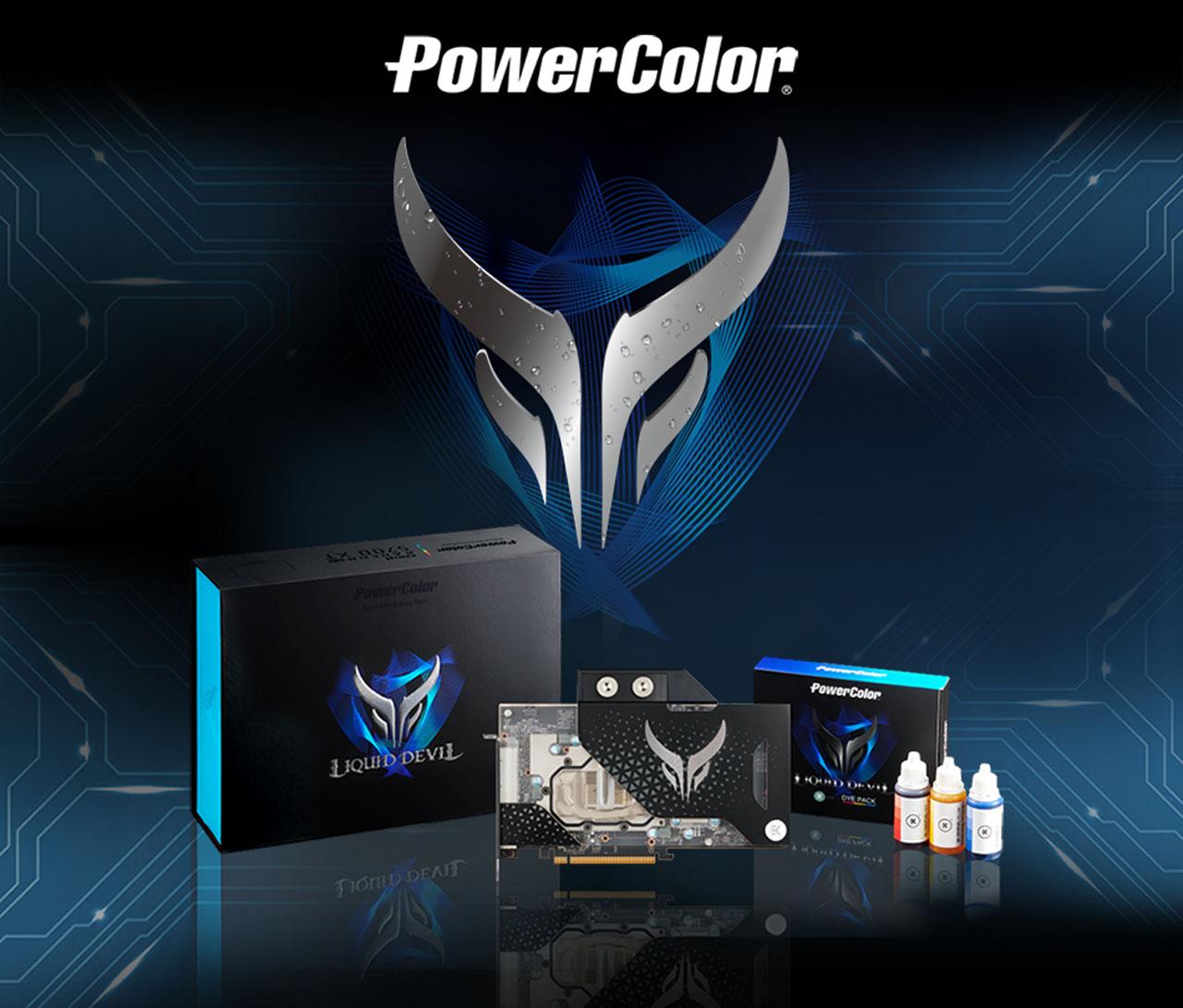 PowerColor logo and Liquid Devil Radeon RX 5700 XT facing forward and packing box