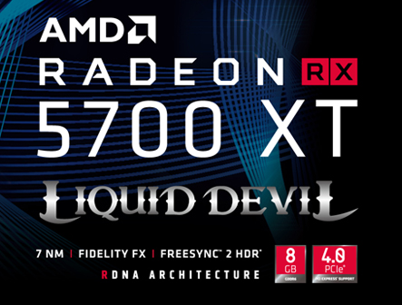 AMD logo and Liquid Devil 5700 XT icon