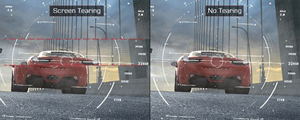 Two game screenshots of a red sports car driving on a bridge. The left image is distorted with the header of Screen Tearing and the right image is smooth with a header that reads No Tearing