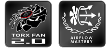 Torx fan 2.0 and airflow mastery logos