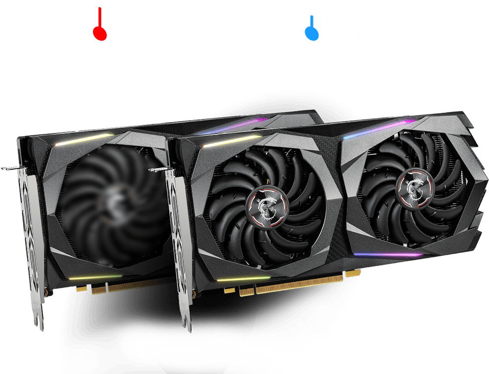 Two GTX 1660 Ti GAMING X 6G Graphics Cards, one in front of the other. The one behind is spinning above a red thermometer icon that has text that reads more than 60 degrees Celsius. The front instance of the graphics card has fans that are not spinning below a blue thermometer icon that reads less than 60 degrees Celsius
