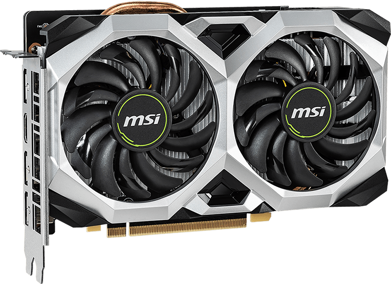 The MSI GTX 1660 Ti VENTUS XS OC graphics card facing slightly to the right