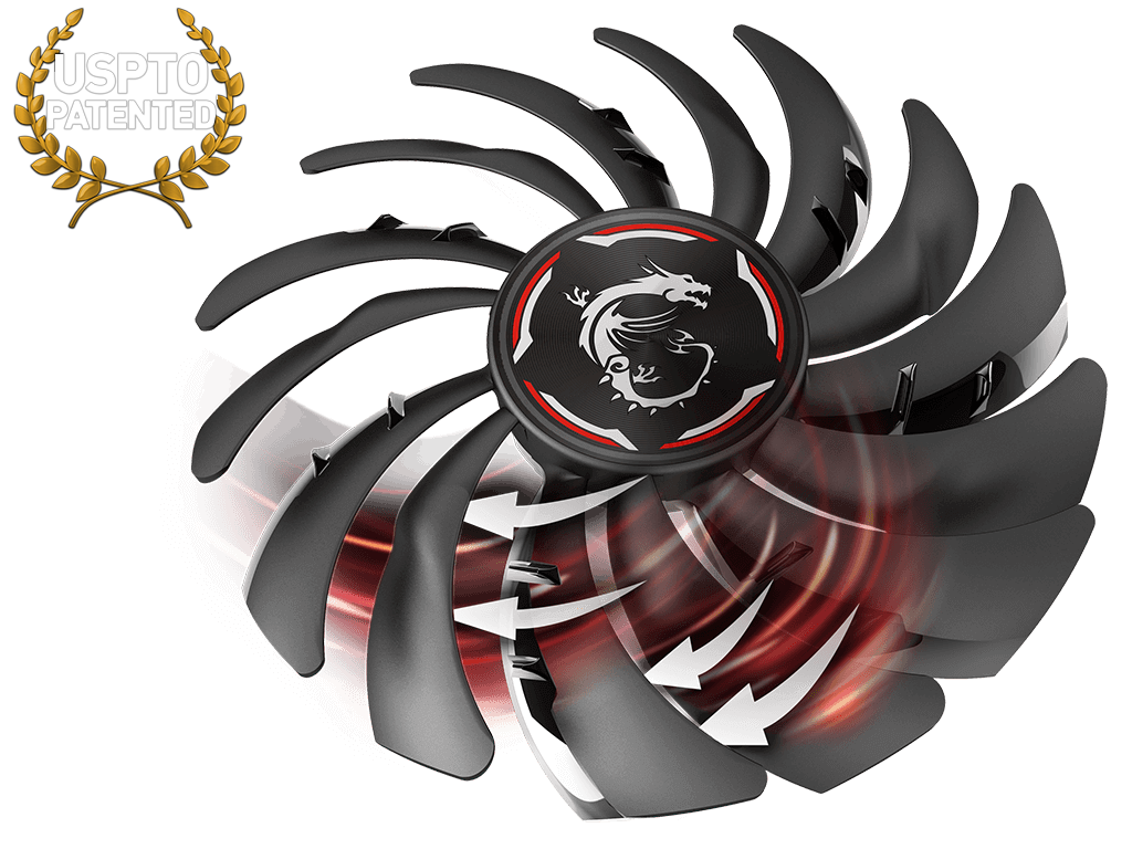 an msi graphics-card fan facing up to the left with red graphics and white arrows showing movement. Above the fan is a USPTO Patented logo
