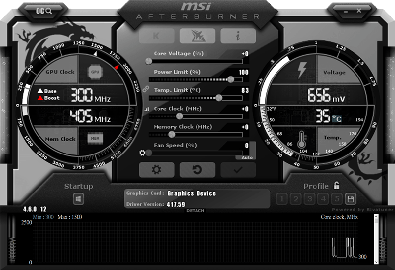 MSI Afterburner software window