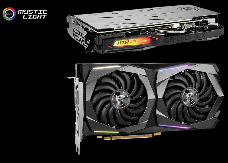 Two images of the GTX 1660 GAMING X 6G graphics card. The top image is the graphics card lying on its face angled slightly down to the right. The bottom image is the graphics card standing up vertically facing slightly to the right. To the top left of the image is the RGB Mystic Light logo