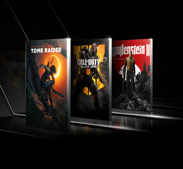 Game boxes for Shadow of the Tomb Raider, Call of Duty Black Ops 4 and Wolfenstein 2