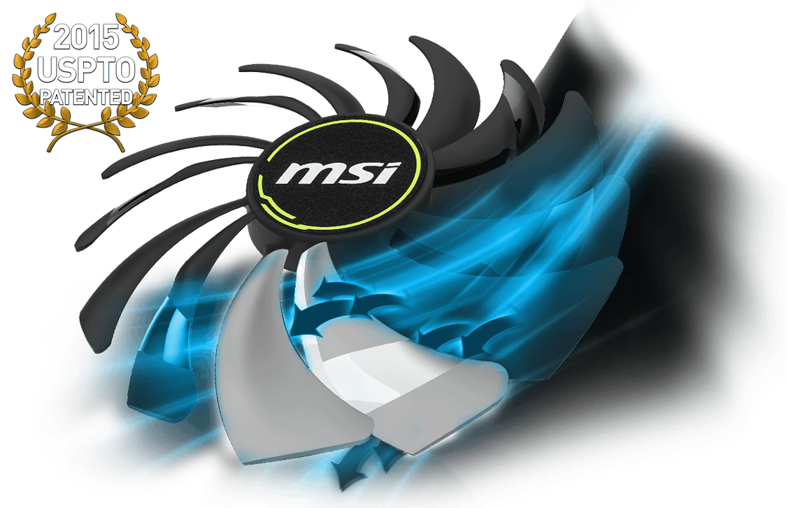 MSI GeForce RTX 2070 Graphics Card's Spinning Fan Next to the 2015 USPTO Patented Badge