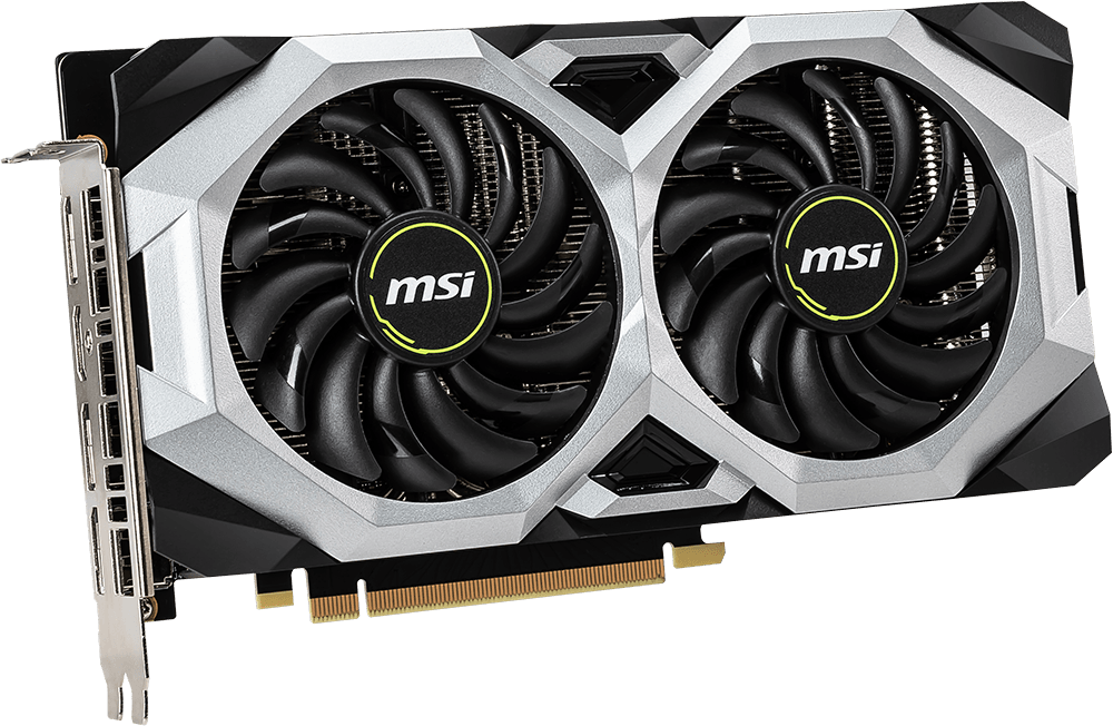 MSI GeForce RTX 2070 Graphics Card, Facing Forward Horizontally, Angled to the Right, Facing Forward
