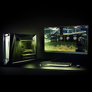 A PC gaming setup in dark lighting with lights coming from the keyboard and the inside of the PC case