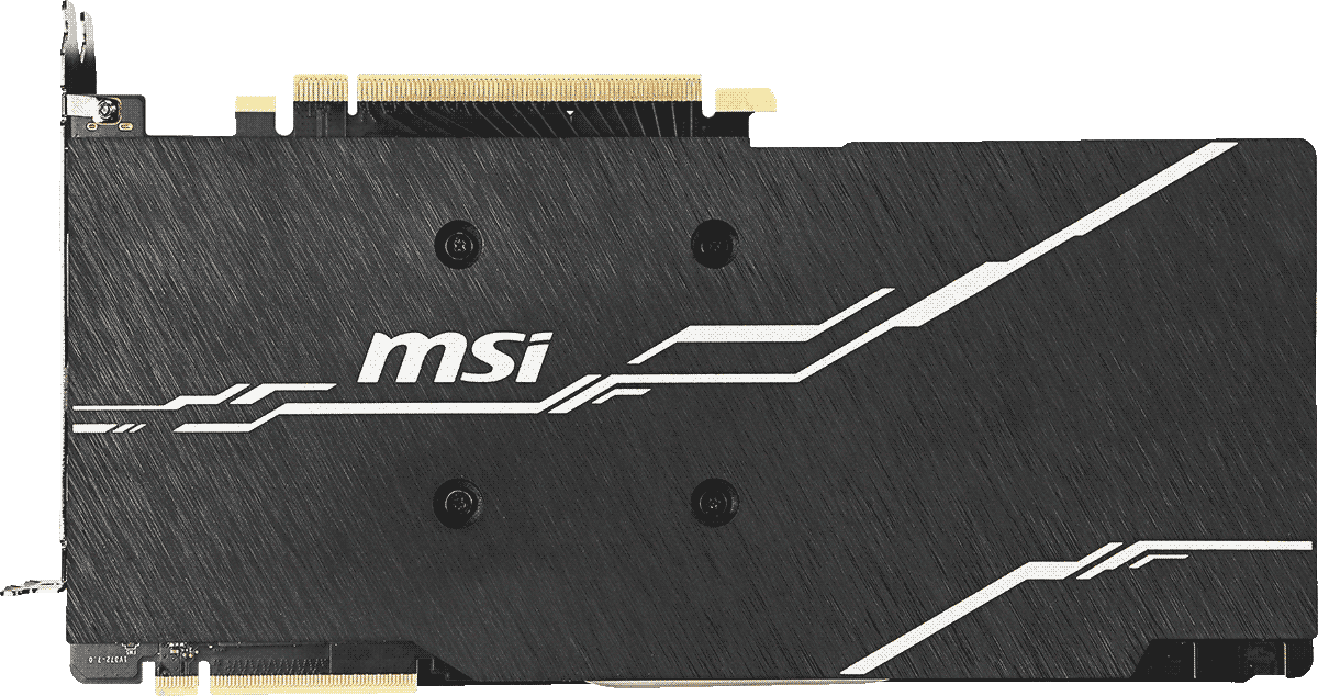 MSI GeForce RTX 2070 Graphics Card Facing away, showing its backplate