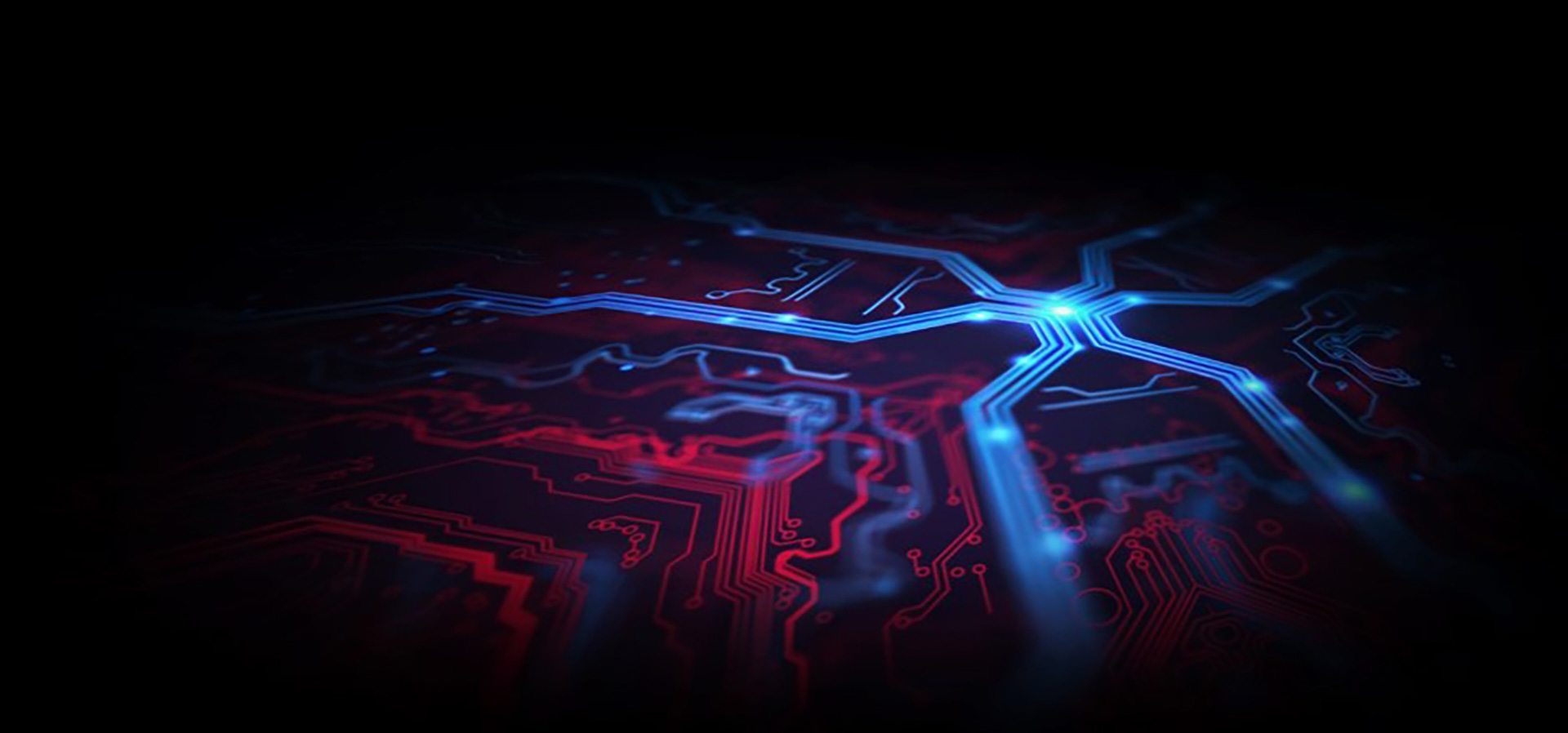 Circuitry graphic in blue and red