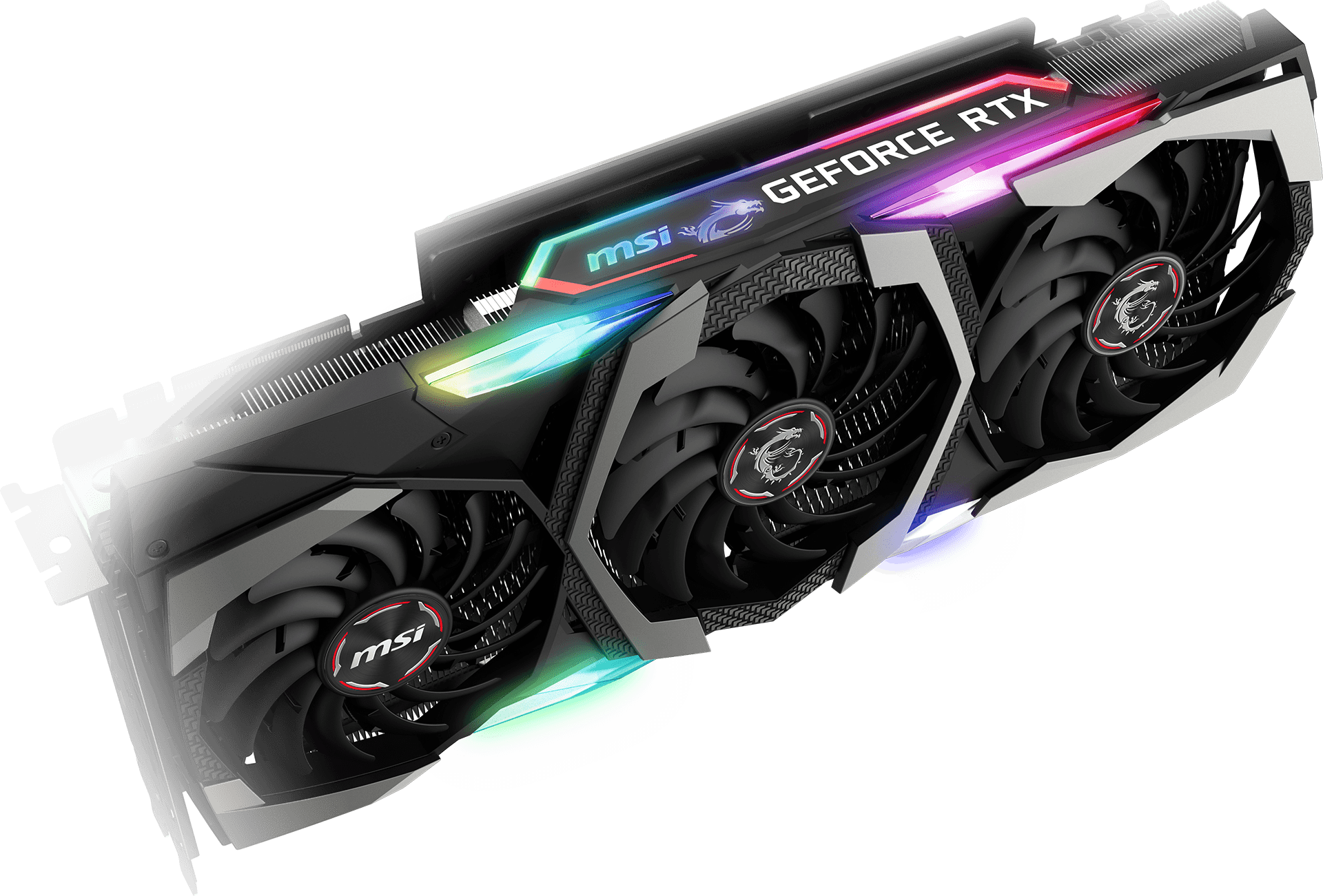 MSI GeForce RTX 2070 Graphics Card Floating Horizontally Angled Down to the Right