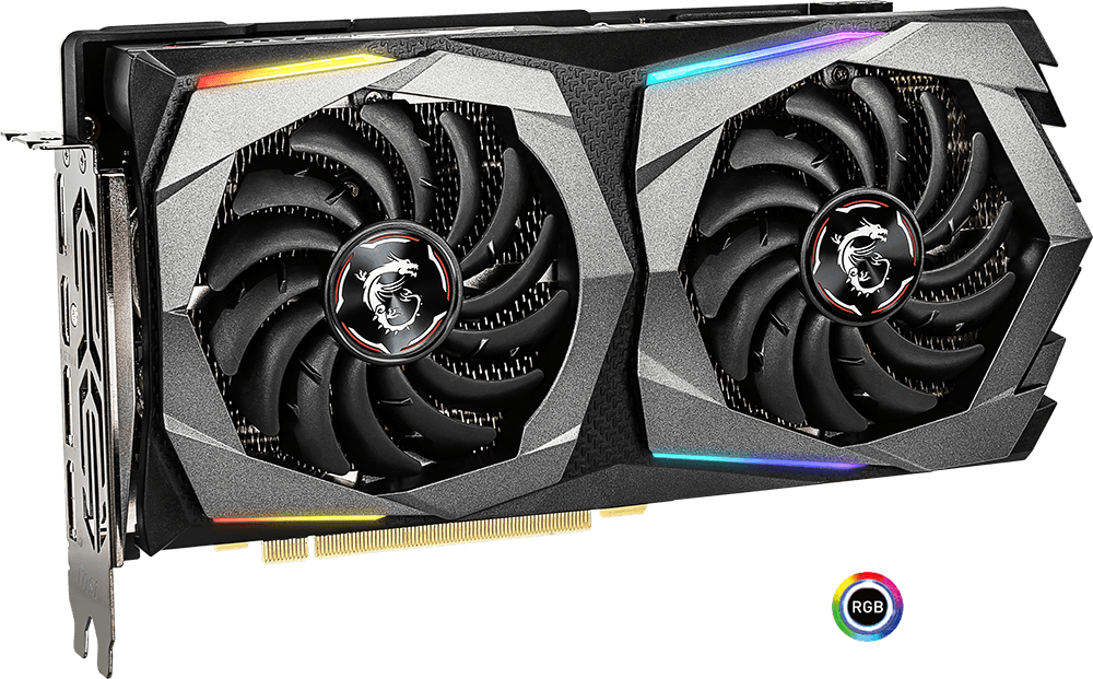 MSI GEForce RTX 2060 Graphics Card Facing Forward Horizontally next to the RGB Mystic Light Badge