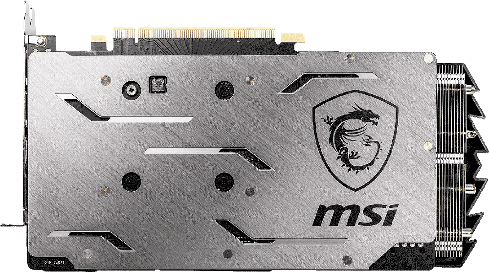 MSI GEForce RTX 2060 Graphics Card Facing Away, Showing Its Backplate