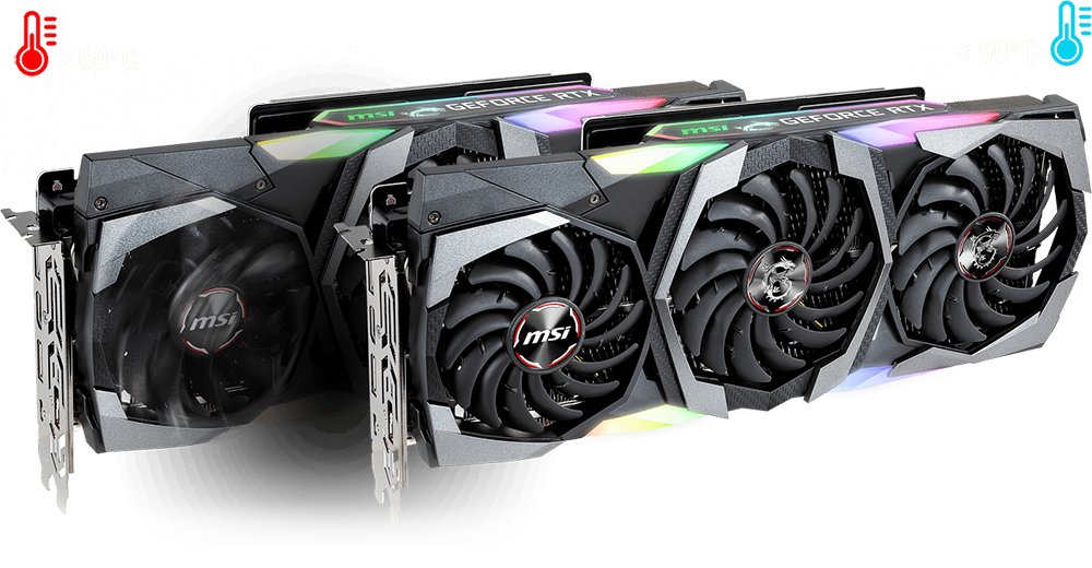 Two MSI RTX 2080 Super Gaming X TRIO Graphics Cards Angled to the Right, One Behind the Other Offset to the Left. The Graphics Card Behind Has Its Fans Spinning. Above the Graphics Cards Are Icons and Text That Indicate: Less Than 60°C and Greater Than 60°C