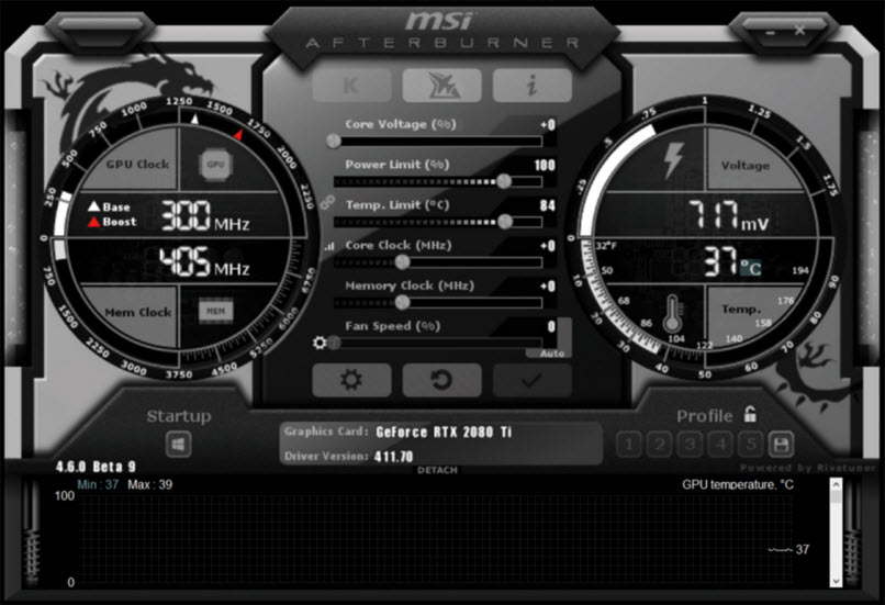 an interface of MSI Afterburner software